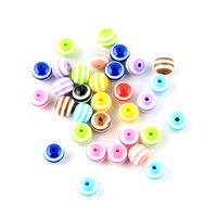 Pack of 300 Assorted Colours Round Plastic Stripe Beads. 10mm Loose Resin Spacers. £13.19