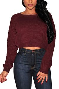 Women's Knit Sweater Long Sleeves Acrylic Cropped Top $43.00