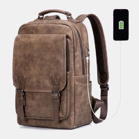 Men Anti-theft Large Capacity Faux Leather Backpack For Business Outdoor