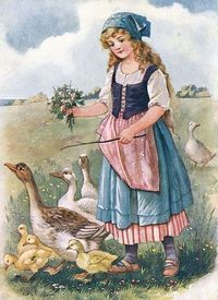"""THE GOOSE GIRL"" SO DEAR TO MY HEART---I HAD PET GEESE AS A CHILD, THEY LOVED TO PLAY SOCCER!!!!!"