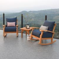 Caterina 3pc Outdoor Chat Set - Natural Teak/Navy Cushion