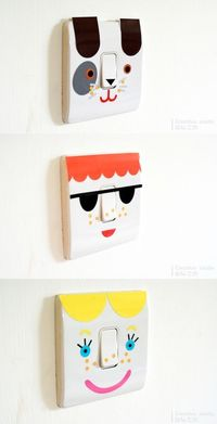 sticky vinyl light switch fun, great for kids rooms or anywhere! Quick diy project