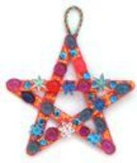 Popsicle stick star ornaments. (Scroll down a ways on the page to see the directions.)