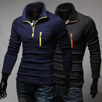 New Leisure Polo's Men Long Sleeve Slim Contrast Color Patchwork Polo $25.18