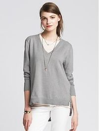 Draped-Back Vee Pullover
