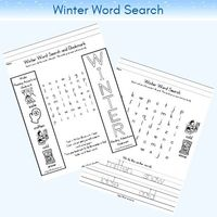 Printable winter season word search for young children learning to read and write, preschool to early elementary.