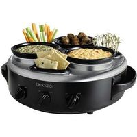 Crock Pot Triple Dipper with Lazy Susan Slow Cooker with Stainless Steel Hybrid Finish---Awesome for parties!