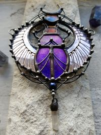 Scarab - Stain Glass Pendant, scarab necklace, Animal necklace, Insect, Druid jewelry $66.00