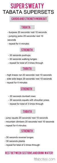 like strength adjustment to tabata- add a few more since this circuit is only 21 min. (without rest btw tabatas)