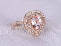 8X6MM PEAR CUT MORGANITE AND DIAMOND ENGAGEMENT RING 14K ROSE GOLD DOUBLE HALO TWO ROW SPLIT SHANK