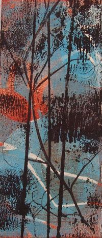 Sticks is a gelatine plate bleed print monotype on Hahnemulle paper.