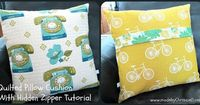 Quilted Pillow Cushion With Hidden Zipper TUTORIAL... very comprehensive tutorial with lots of step by step photos ~ made by ChrissieD