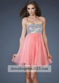 Cheap A Line Mini Short Top Sequin Flowing Coral Prom Dresses