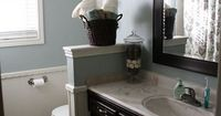 I like the grey-blue paint with the white trim and espresso cabinets