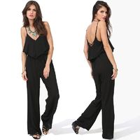 Oversized Sexy Open Back V-neck Chiffon Strappy Top Jumpsuit - Bonny YZOZO Boutique Store