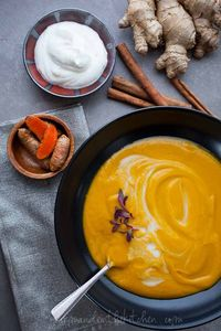 This brightly colored, vibrantly spiced ginger carrot soup is velvety smooth. Although it's probably still awfully cold in most parts, around here the sun is br