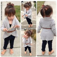 Cute gray cardi with blk thights.