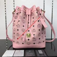 MCM Small Heritage Visetos Drawstring Bag In Light Pink