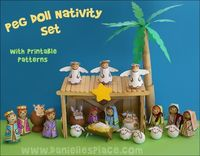 Peg Doll Nativity Set Craft for Kids with printable patterns from www.daniellesplace.com