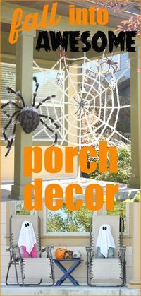 Fall Porch Decor Ideas. Creative Halloween decorating ideas for front doors and porches. Spice up your house with ghosts, pumpkins, spider webs and more.