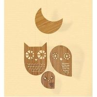 Eco-Friendly Bamboo Mobile with 3 Laser-Cut Owls and a Moon