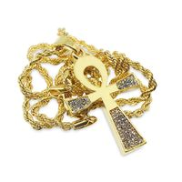 PREMIUM 14K GOLD PLATED FLAT ICED OUT ANKH SYMBOL HIP HOP BLING PENDANT CHAIN NECKLACE Dimensions: Chain: 24 inches, Width: 3mm Pendant: 34.74mm x 25.76mm 6 Months Warranty Against Tarnish