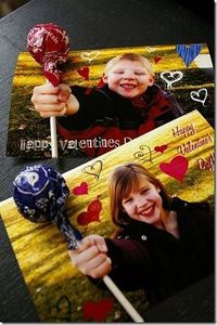cute & easy idea for DIY Valentine's cards for school classmates...just take a photo of your child with their hand out-stretched and in a fist, photoshop it as you see fit and get some printed. Then cut a slit along the top and bottom of their fis...