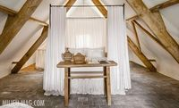 colors - white walls with worn wood and bluestone floors