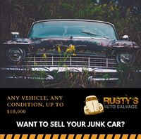 Instead of wasting time and energy to Sell Your Junk Car, make things easy on yourself: call the best junk car buyer in the industry, Rusty's Auto Salvage. We offer exceptional customer service, and We Buy Junk Cars for Cash and pay top dollar for j...