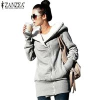 ZANZEA 2017 Womens Hoodies Overcoat Winter Warm Fleece Coat Zip Up Outerwear Hooded Sweatshirts Long Jacket Parka Plus Size 3XL $53.07