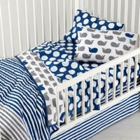 New School Toddler Bedding (Make a Splash) | The Land of Nod, new bedding for the big (lil) guy