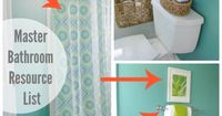 Green master bathroom makeover plus full resource list of where the valence, bath mat, towels and baskets were purchased.