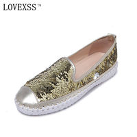 LOVEXSS Sequined Flats 2017 Spring Autumn Casual Genuine Leather Black Red Golden Silvery Woman Shoes Loafers Sequined Flats $33.15