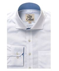 White Twill Blue Lining Regular Fit Cotton Shirt �'�1499.00