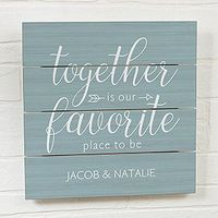 Buy personalized wood plank signs with a romantic design. Choose from 10 color options & add your own text! Free personalization & fast shipping.