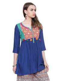 Blue Solid Rayon Short Kurta