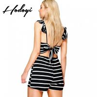 Vogue Sexy Open Back Accessories Summer Tie Frilled Stripped Jumpsuit - Bonny YZOZO Boutique Store