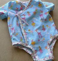 DIY a side-snap kimono onesie, tutorial for 3, 6, and 9 months.