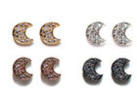These Lovely Crescent Moon Earrings CZ Pave Brass Plated are sold per pair at an unbeatable price also available in Rhodium or 18kt gold plated brass.