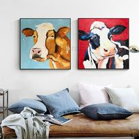 Set of 2 wall art cow painting Pet Portrait animal paintings On Canvas Original framed Wall art Pop Art palette knife Wall pictures $149.00