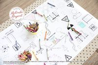 Mad Scientist Birthday Decor Coloring Page Table Runner Science Birthday Decorations Wedding Kids Craft Children's Party Games Activities $25.88