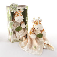 Standing tall in Baby Aspen's safari-themed gift box, Jakka the Giraffe has all the plushness and playfulness you could ask for in a cuddle-soft baby gift! Intriguing textures and sounds, like the crinkle leaf, the satin trim and the rattle, will ca...
