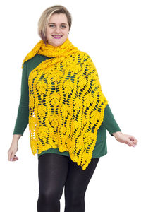 Yellow crochet scarf as knit gift, oversized lace clothes for plus size women $56.00