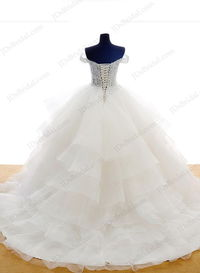 Informal illusion lace tiered ball gown wedding dress