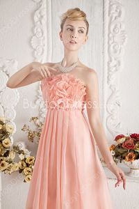 Gorgeous Coral Chiffon Empire Full Length Maternity Evening Dresses With Ruffles