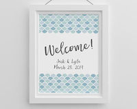 "Fun and versatile, our Personalized Seaside Escape Poster can be used for a variety of celebrations, including bridal showers, baby showers or weddings. With ""Welcome"" printed in script in the center of the poster, blue mermaid-inspired scales a..."