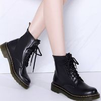 Casual Autumn Winter Plush Fur Motorcycle Ankle Genuine Leather Women Boots