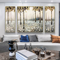 Gold art tree Original Abstract floral set of 3 wall art Acrylic framed Paintings On Canvas art painting wall Pictures palette knife $292.94