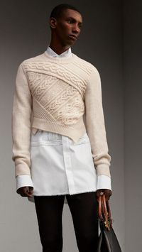 Cable Knit Cashmere Wool Cropped Sweater Natural White | Burberry