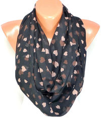 Heart Printed Scarf, Shawls, Chiffon Scarf, Heart Scarf, Lightweight Summer Scarf, Gift For Mothers day for Valentines day, Free Shipping $16.00
